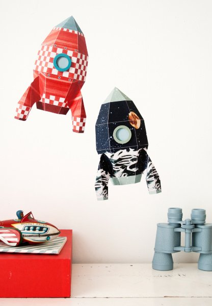 Studio Ditte Muursticker raket blokjes XL