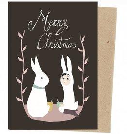 Stokwolf Kerstkaart Kerstkonijn - zwart