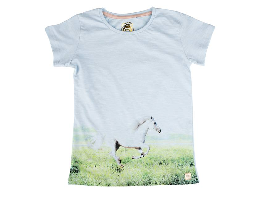 Stones and Bones Stones and Bones - T-Shirt Camille White Horse Ice Blue