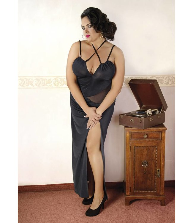 Andalea LONG BLACK DRESS WITH TRANSPARENT TRIANGULAR INSERTS ON THE SIDES