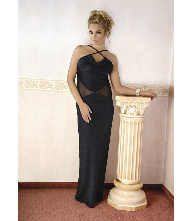 Andalea LONG BLACK DRESS WITH TRANSPARENT TRIANGULAR INSERT ON THE SIDE