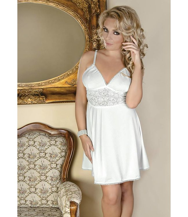 Andalea Lovely écru chemise decorated with wide lace at waist