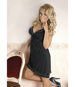 Andalea VERY FEMININE BLACK CHEMISE ADORNED WITH A DELICATE FRILL FINISHED WITH SILVER THREAD