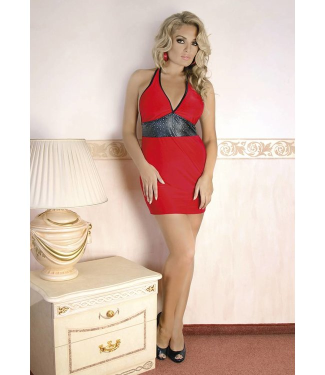 Andalea Fiery red chemise decorated with a wide leather like fabric