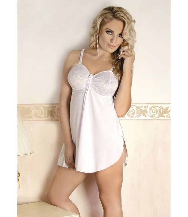 Andalea Sensual white chemise with cut bra cups