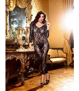 BACI LONGSLEEVE FOOTLESS LACE BODYSTOCKING
