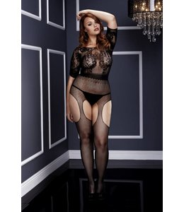 BACI Shortsleeve Crotchless Suspender Bodystocking