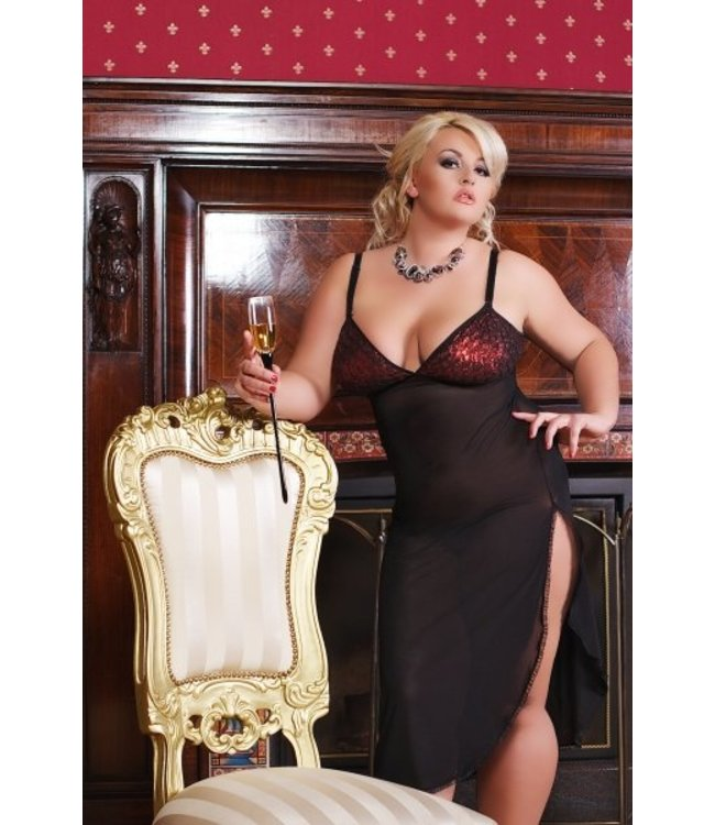 Andalea Long chemise with shiny top with narrow regulated straps