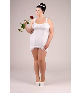 Andalea WHITE WET LOOK CHEMISE WITH STRAPS AND LACING