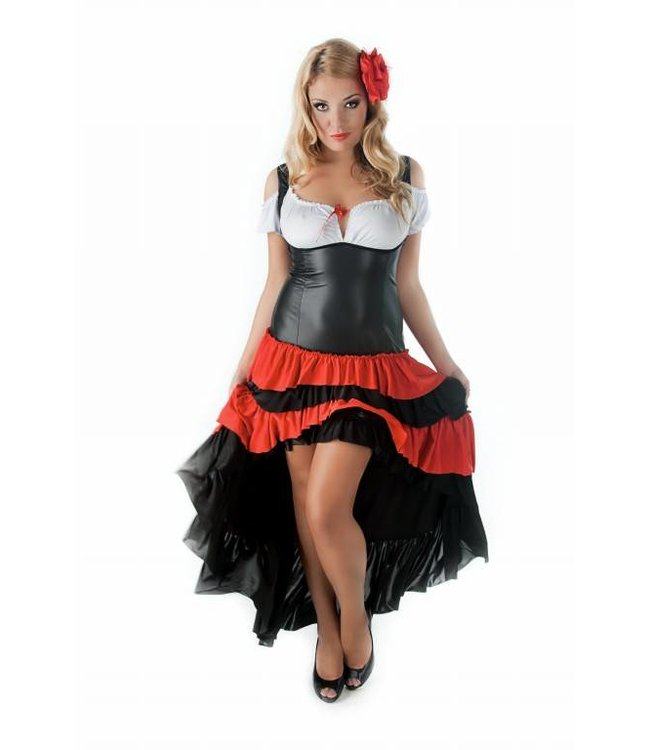 Andalea LONG DRESS WITH SKIRT MADE OF LEATHER LIKE FABRIC AND FLOUNCES OF ELASTIC TEXTILE