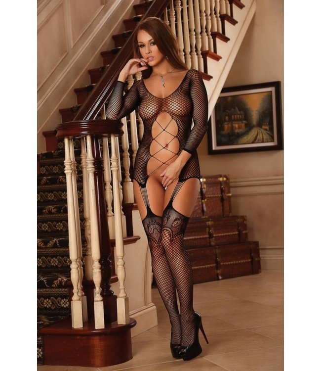 Magic Silk FISHNET GARTERED CATSUIT