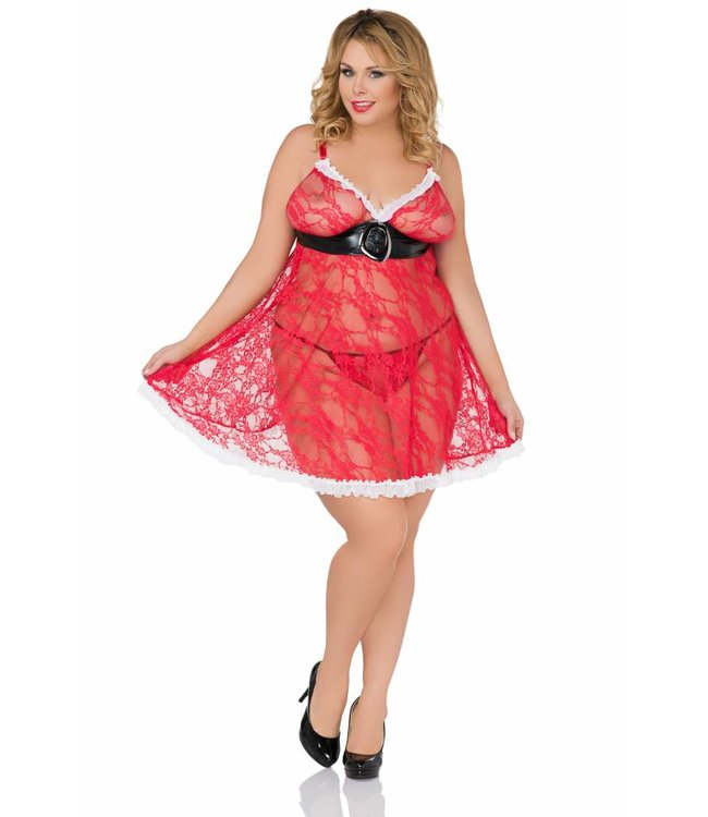Andalea TRANSPARENT CHRISTMAS BABYDOLL WITH SHINY BELT