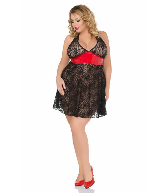 Andalea BLACK LACE MINI DRESS WITH RED DETAIL