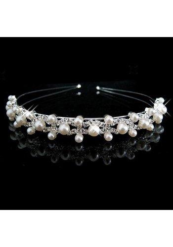 Prachtige Diadeem met Ivoorkleurige Parels en Kristallen