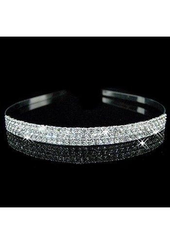 SALE - Zilverkleurige Tiara / Diadeem met Fonkelende Kristallen