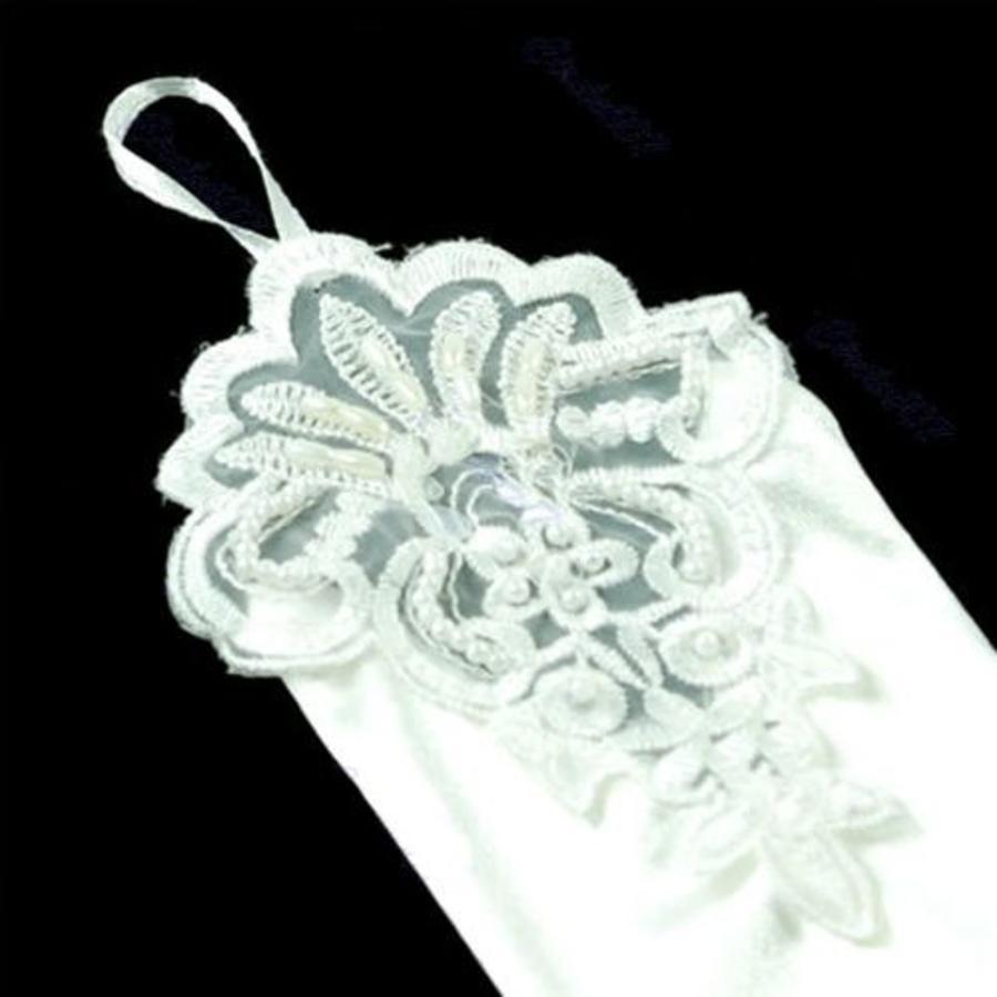 Elegante Bruidshandschoenen van Glanzend Satijn - Wit-2
