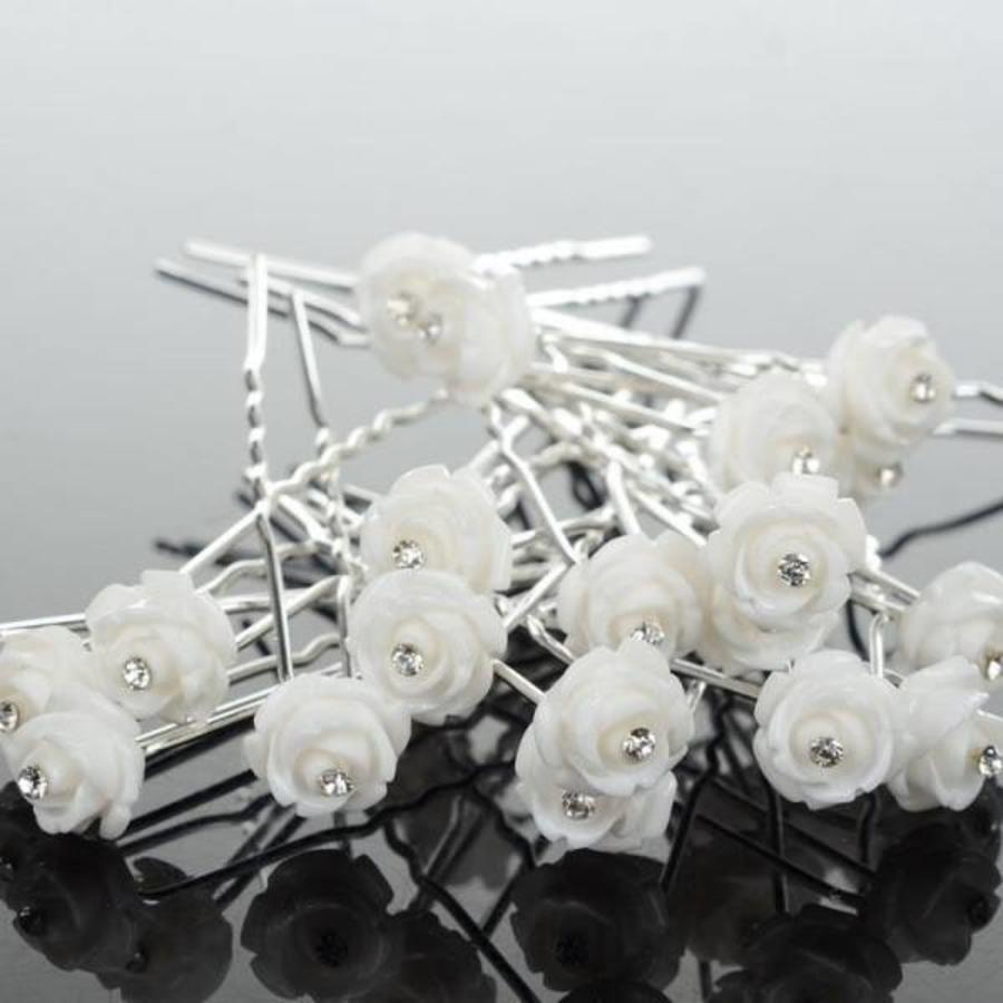 Hairpins – Wit Roosje met Kristalletje - 4 stuks-1