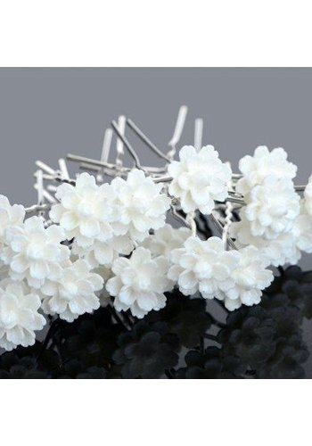 Hairpins – Chique Off White Bloemetje - 5 stuks