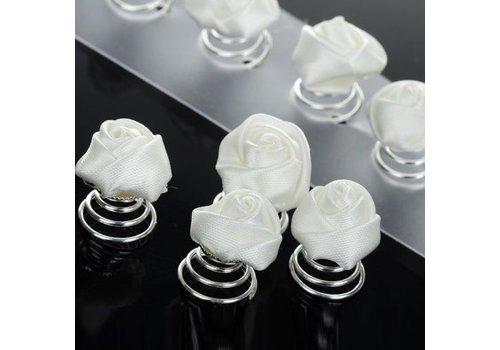 Prachtige Witte Roosjes Curlies - 6 stuks