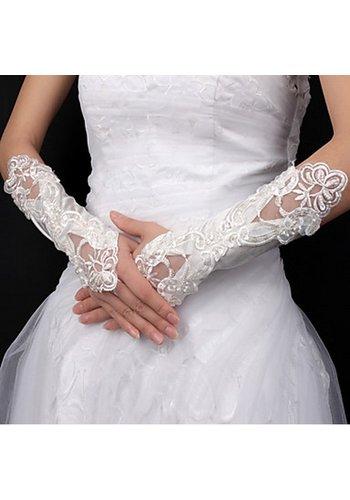 Bruidshandschoenen van Glanzend Satijn - Ivoor