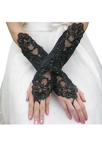 Bruidshandschoenen van Glanzend Satijn - Zwart