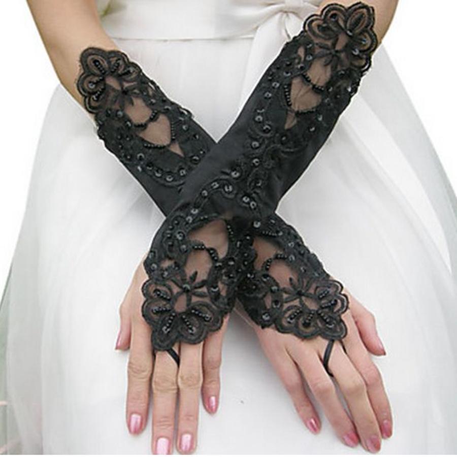 Bruidshandschoenen van Glanzend Satijn - Zwart-1