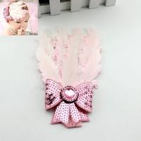 thumb-Haarband Veer met Strik- Licht Roze-3