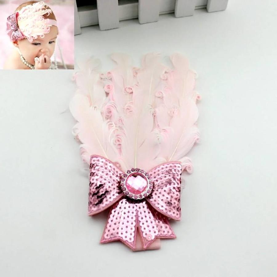 Haarband Veer met Strik- Licht Roze-3