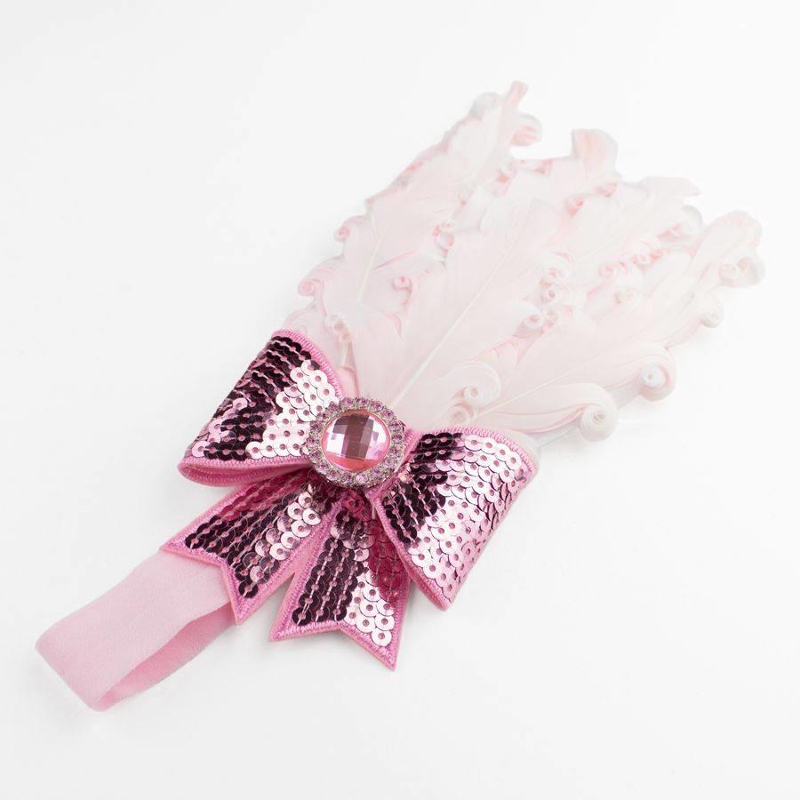 Haarband Veer met Strik- Licht Roze-1