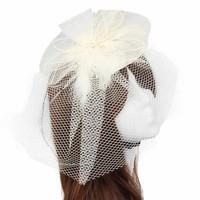 thumb-Chique Fascinator / Birdcage Veil - Ivoor-1