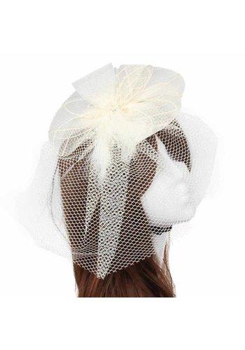Chique Fascinator / Birdcage Veil - Ivoor