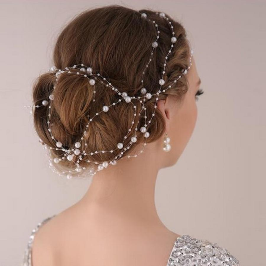 Haarketting Pearl - Wit - ca. 1 m.-2