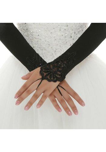 Prachtige zwarte Bruidshandschoenen