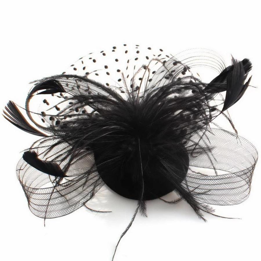 Chique Fascinator / Birdcage Veil - Zwart-2