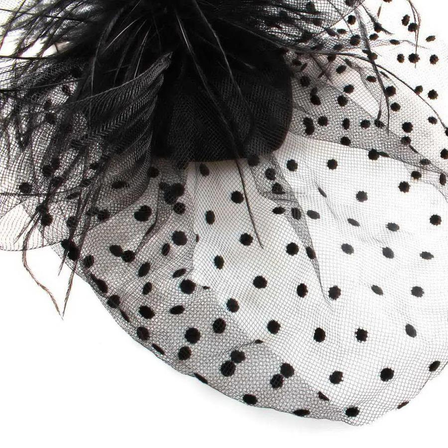 Chique Fascinator / Birdcage Veil - Zwart-6