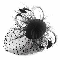 thumb-Chique Fascinator / Birdcage Veil - Zwart-3