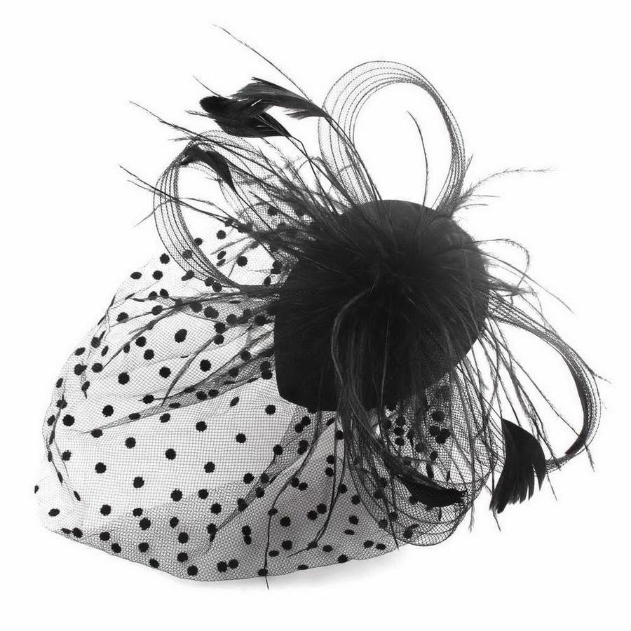 Chique Fascinator / Birdcage Veil - Zwart-3