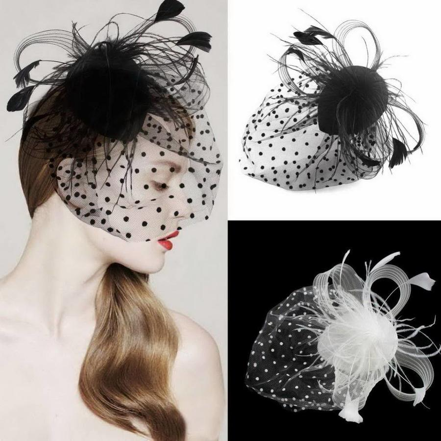 Chique Fascinator / Birdcage Veil - Zwart-4