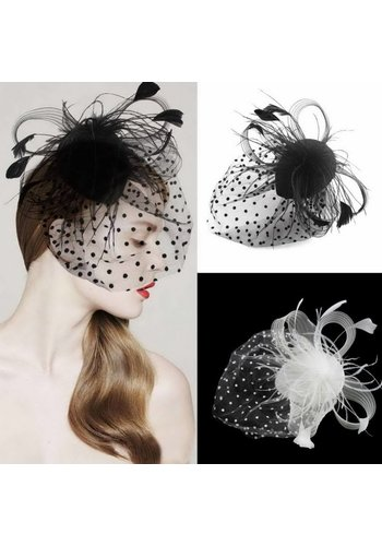 Chique Fascinator / Birdcage Veil - Ivoor / Off White