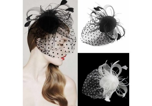 Chique Fascinator / Birdcage Veil - Ivoor / Off White