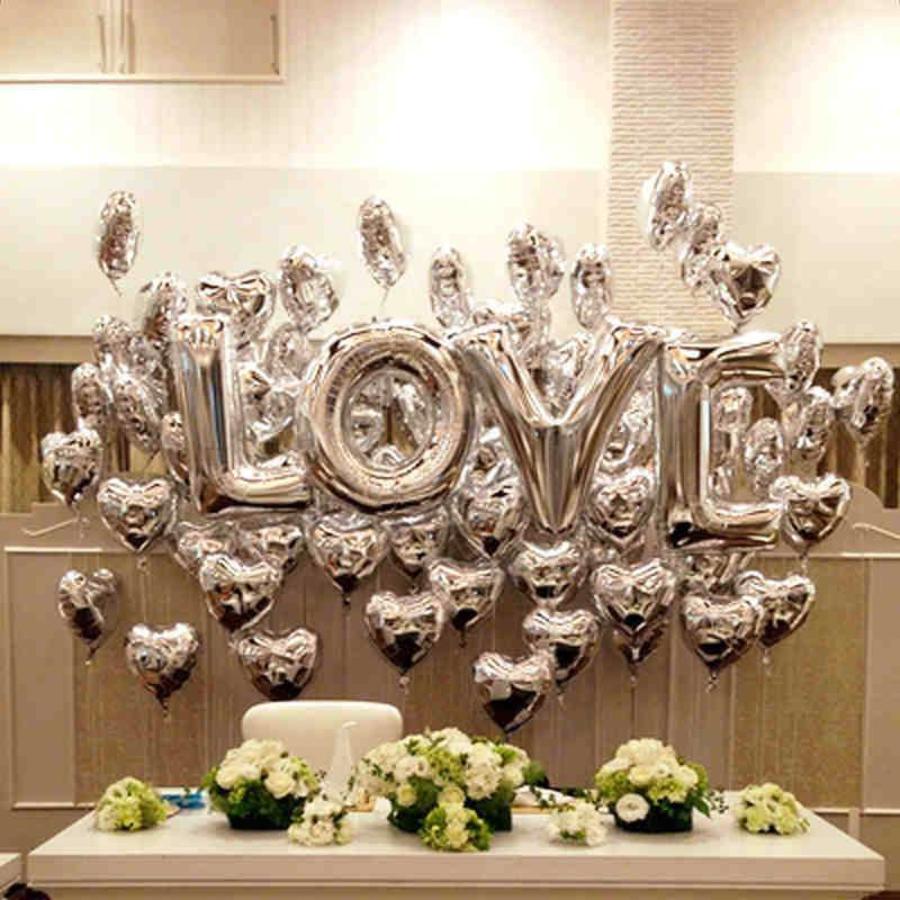SALE - LOVE - Helium Ballonnen - Zilver-1