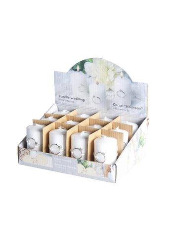 SALE - Bruiloft Kaarsje wit Parelmoer - Doos met 12 stuks - 4 x 7,5cm met zilverkleurige ring eraan