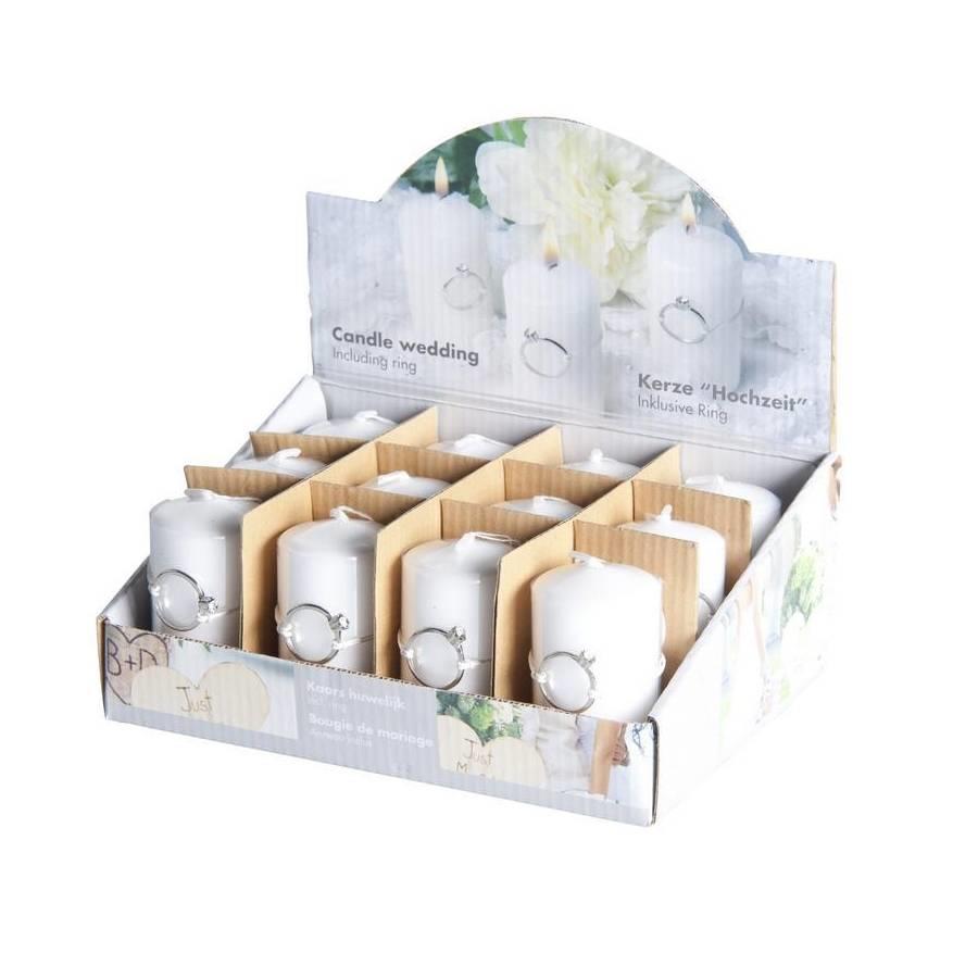 SALE - Bruiloft Kaarsje wit Parelmoer - Doos met 12 stuks - 4 x 7,5cm met zilverkleurige ring eraan-1