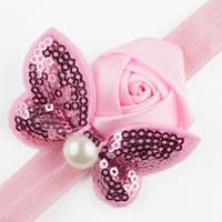 thumb-Haarband Roosje met Vlinder - Roze-2