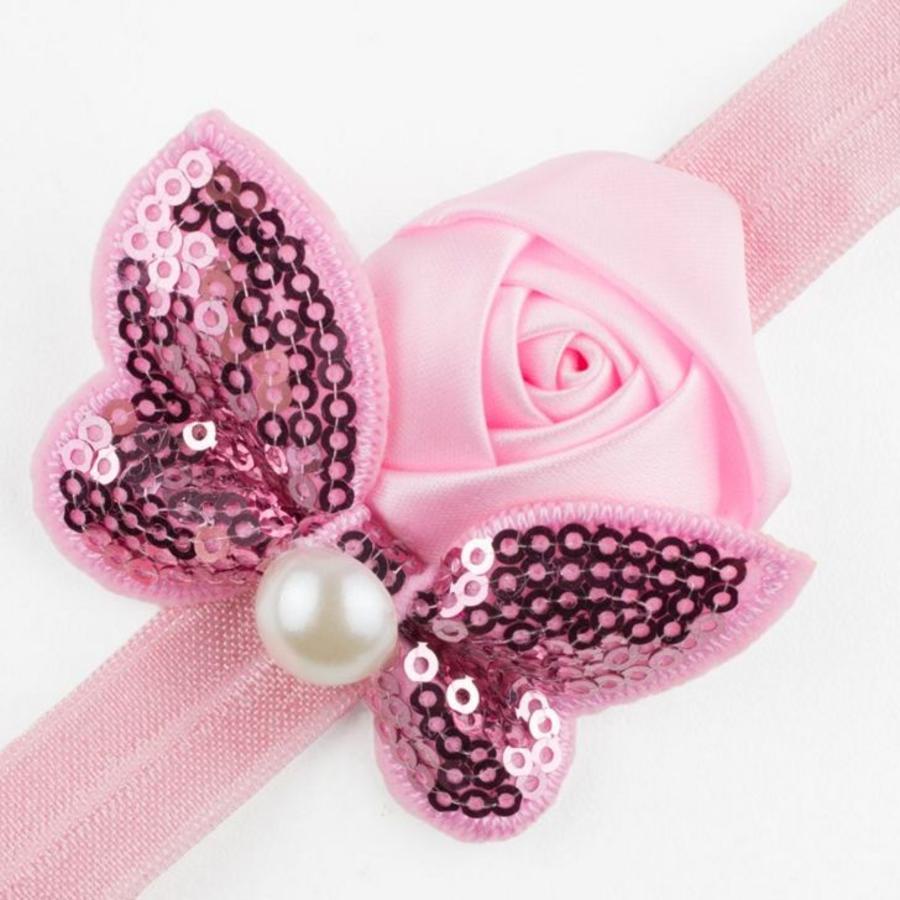 Haarband Roosje met Vlinder - Roze-2