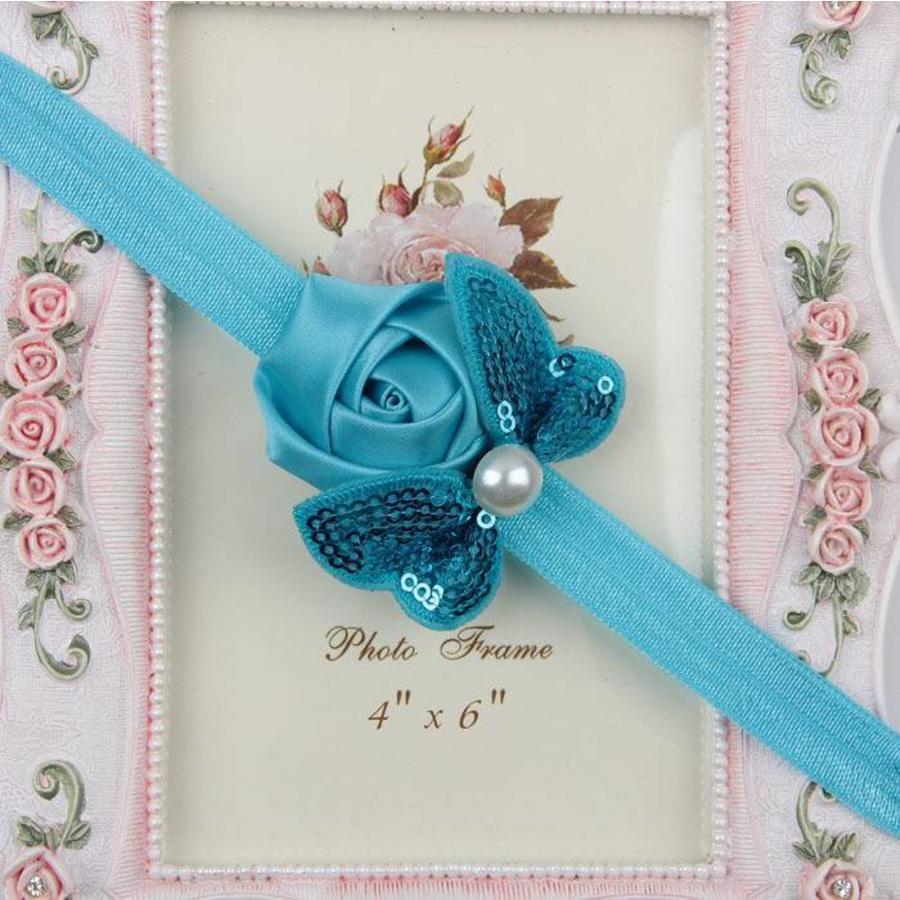 Haarband Roosje met Vlinder -  Aqua Blauw-1