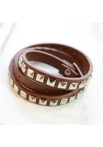 Stoere Armband met Studs - Bruin