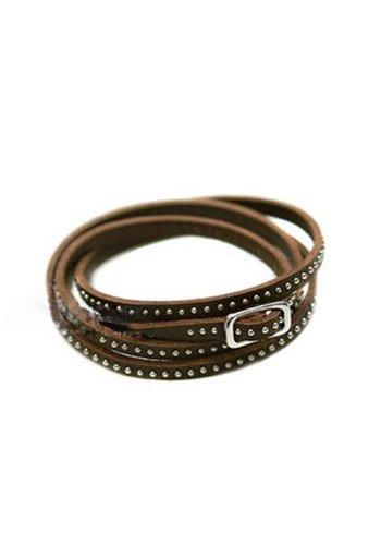 Stoere Armband met Kleine Studs / Knopjes - Bruin