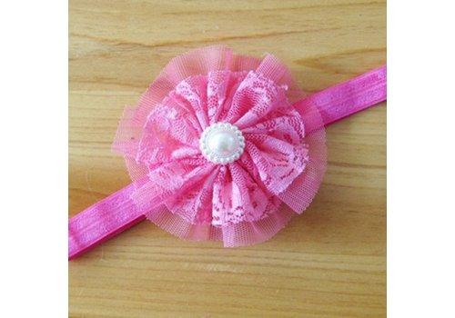 SALE- Haarband Bloem met Parel - Roze