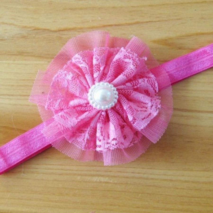 SALE - Haarband Bloem met Parel - Roze-1